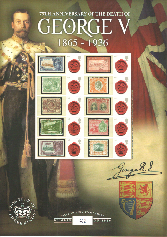 BC-328 George V 75th Anniversary of Death Business Smilers Sheet