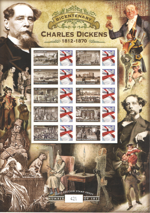 BC-366 2012 Charles Dickens Bicentenary Business Smilers Sheet