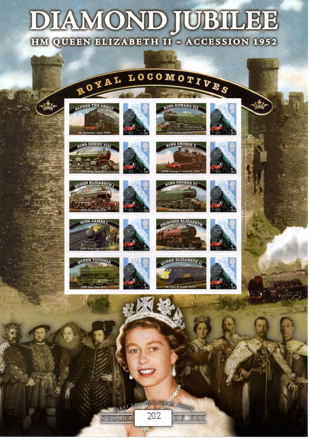 BC-370 2012 Diamond Jubilee Royal Locomotives Business Smilers Sheet