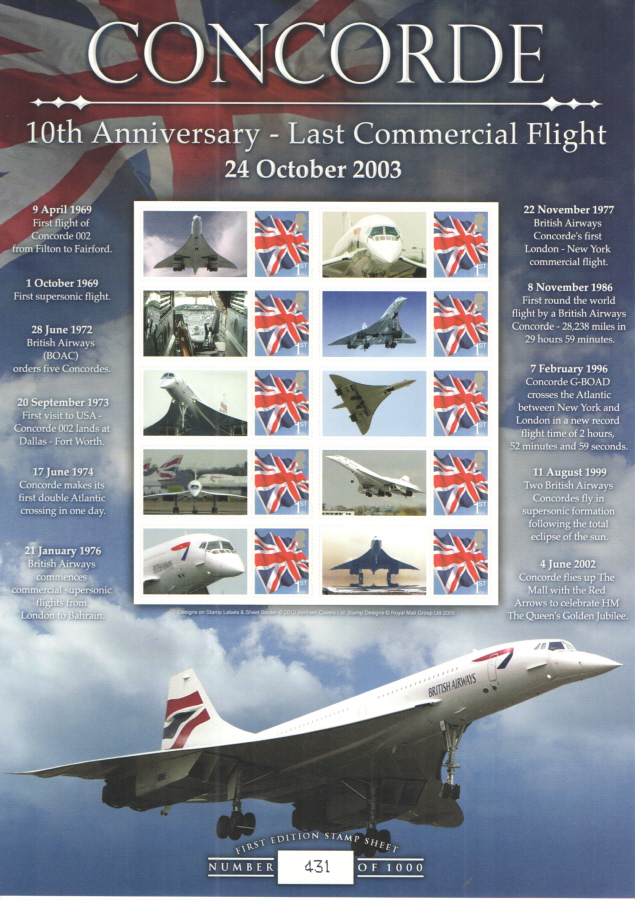 BC-421 2013 Concorde - 10 Years Since Last Flight Business Smilers Sheet