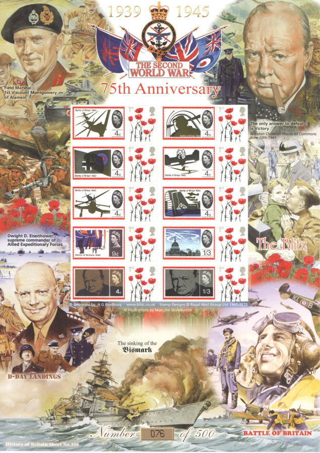 BC-439 2014 WWII 75th Anniversary History of Britain 105 Business Smilers Sheet
