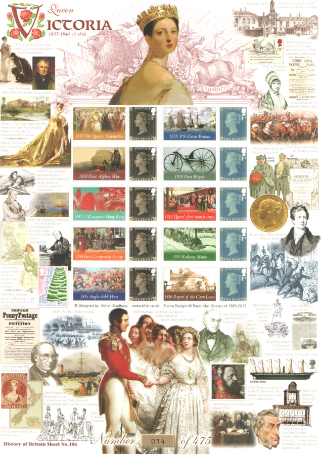 BC-455 2015 Queen Victoria (1 of 6) History of Britain 106 Business Smilers Sheet