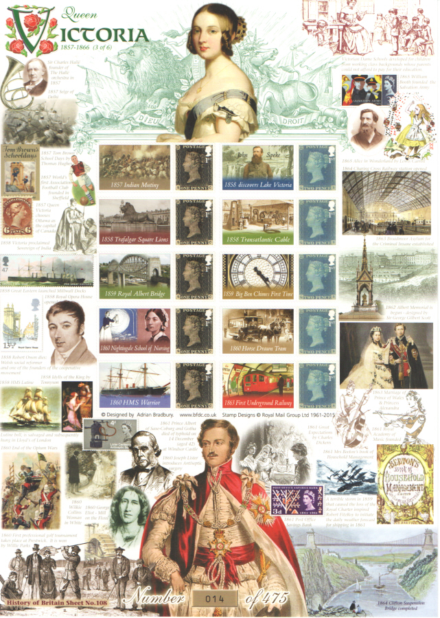 BC-457 2015 Queen Victoria (3 of 6) History of Britain 108 Business Smilers Sheet