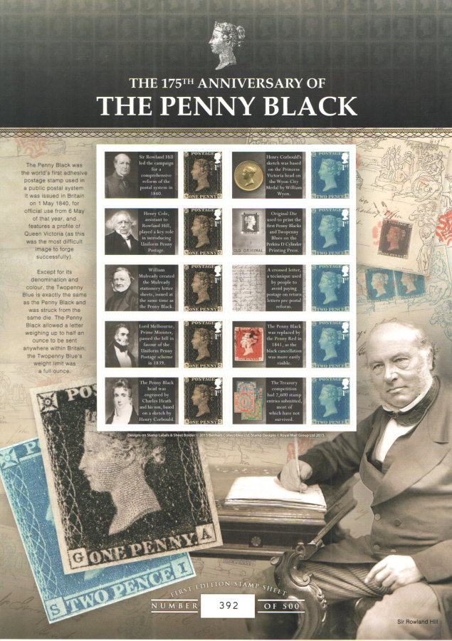 BC-468 2015 The Penny Black 175th Anniversary Business Smilers Sheet