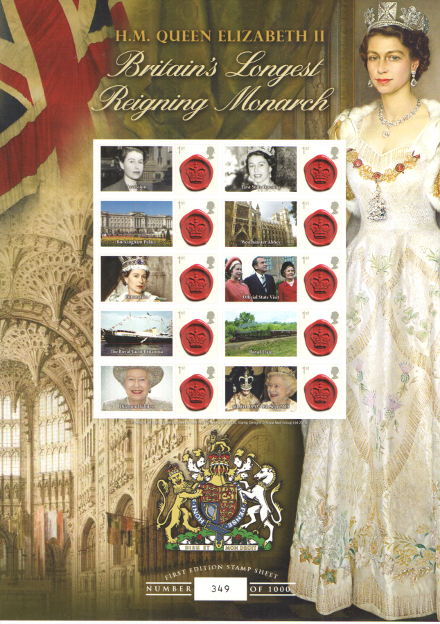 BC-481 2015 HM Queen Elizabeth II Britain's Longest Reigning Monarch Business Smilers Sheet