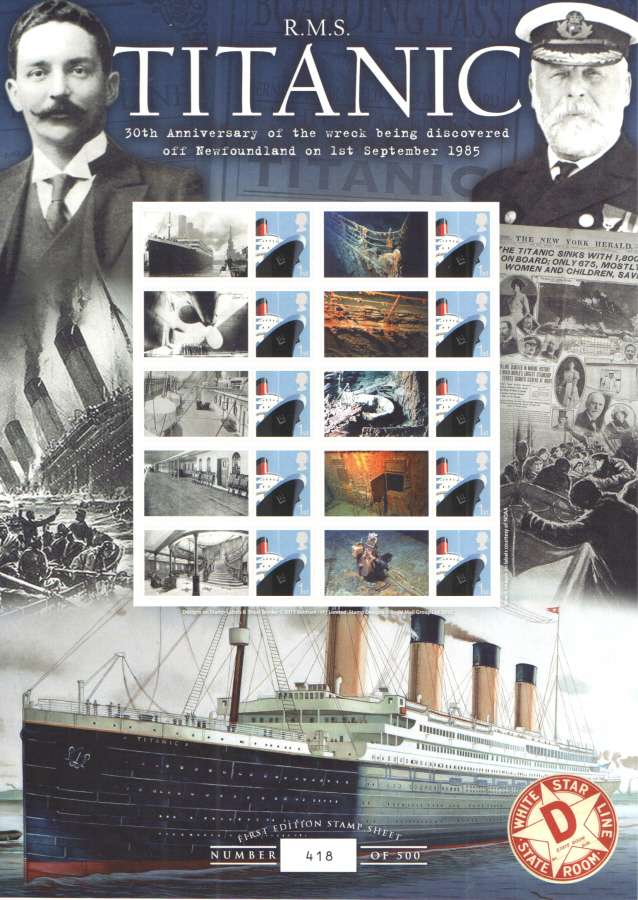 BC-482 2015 RMS Titanic 30th Anniversary Business Smilers Sheet