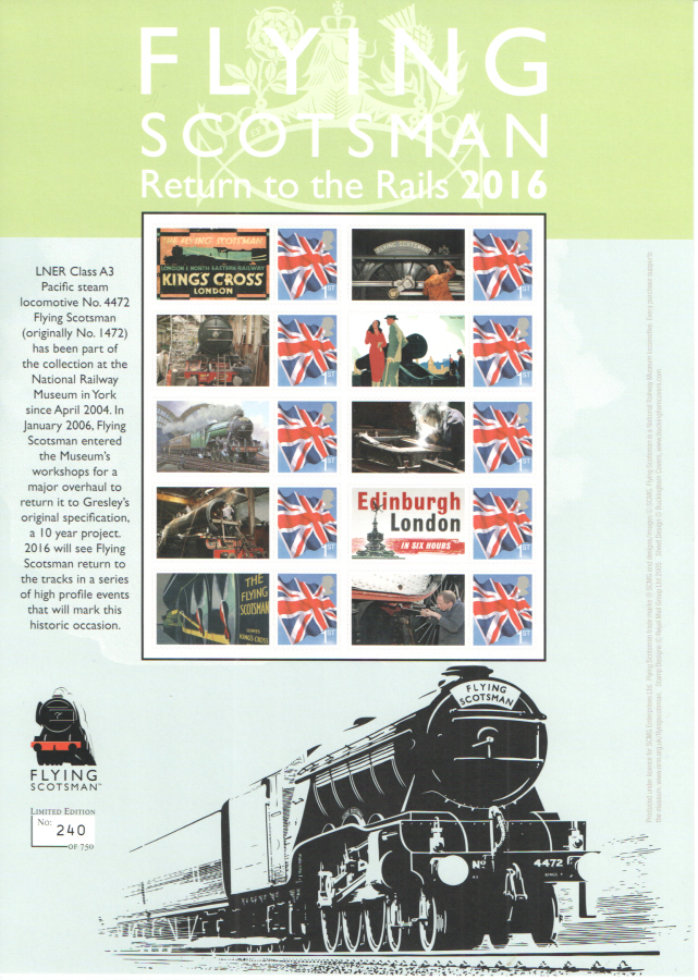BC-486 2016 Flying Scotsman Return to the Rails 2016 Business Smilers Sheet