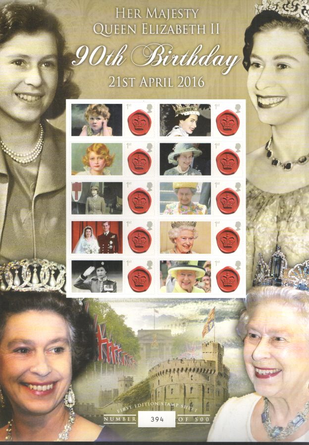 BC-491 2016 Her Majesty Queen Elizabeth II 90th Birthday Business Smilers Sheet