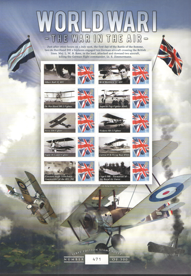 BC-495 2016 WWI The War in The Air Business Smilers Sheet