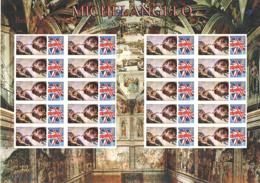 TS-209 2007 Michelangelo Sistine Chapel Themed Smilers Sheet
