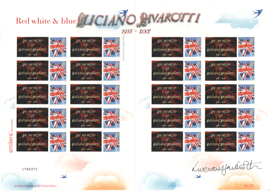 TS-216 2007 Luciano Pavarotti 1935 - 2007 Themed Smilers Sheet