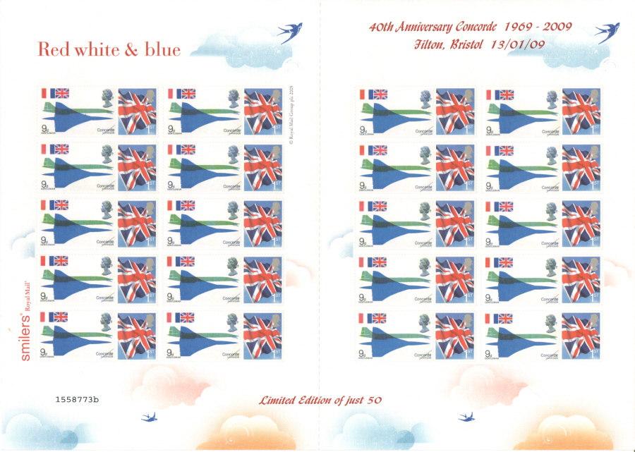 TS-332 2009 Concorde 40th Anniversary Themed Smilers Sheet