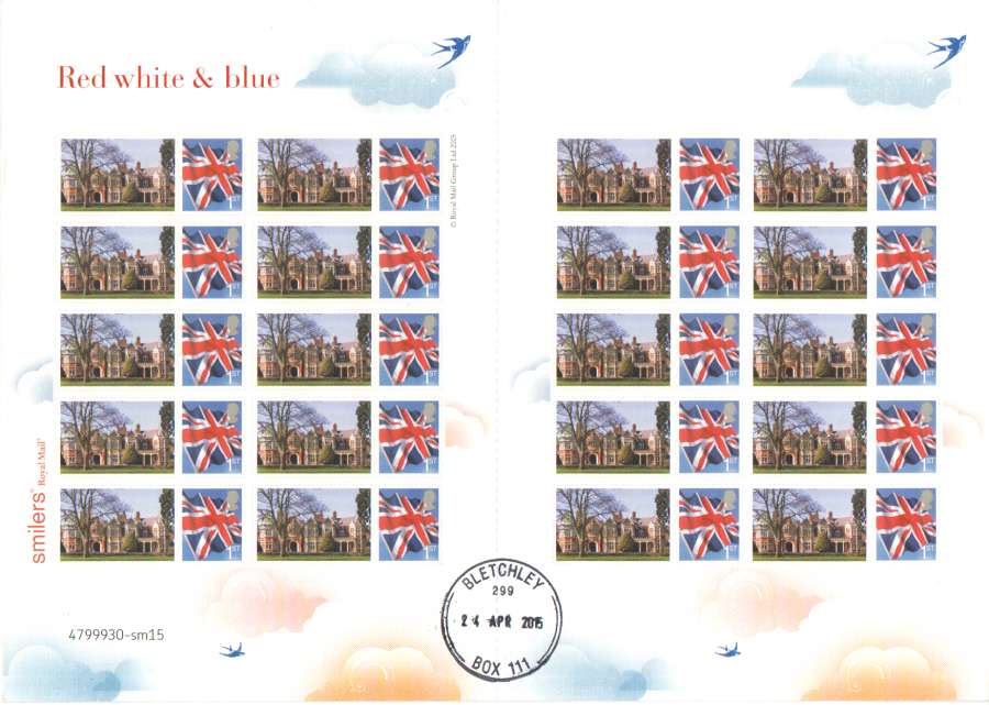2015 Unique Bletchley Park Post Office Limited Themed Smilers Sheet. Only 1 produced.