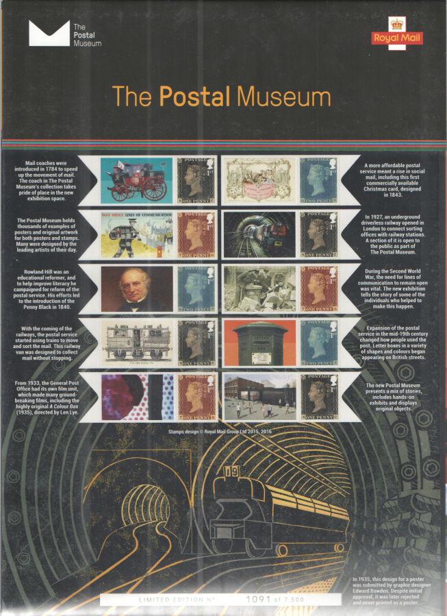 CS34 2017 The Postal Museum Royal Mail Commemorative Smilers Sheet