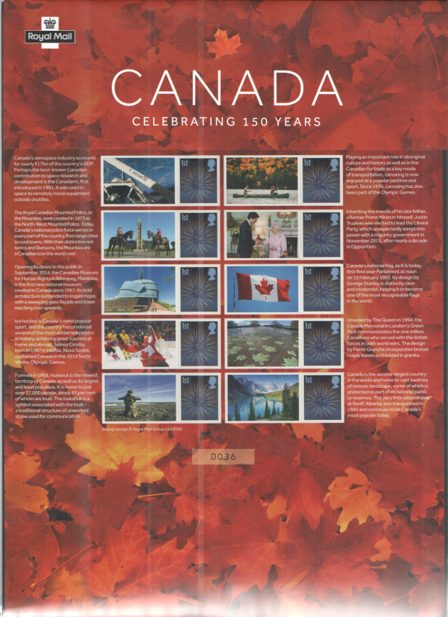 CS36 2017 Canada Celebrating 150 Years Royal Mail Commemorative Smilers Sheet