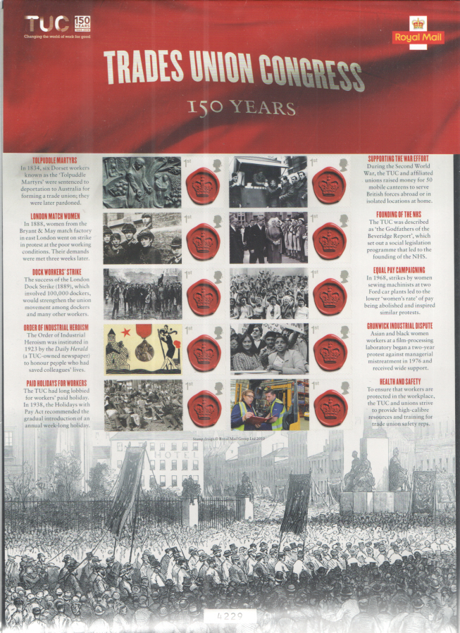 CS37 2018 Trades Union Congress 150 Years Royal Mail Commemorative Smilers Sheet