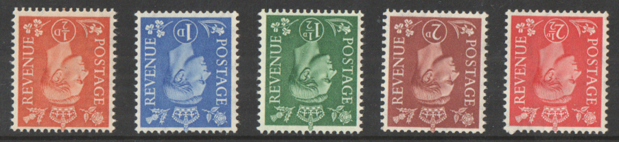 SG503Wi / 07Wi Inverted Watermark George VI 1950 New Colours unmounted mint set of 5
