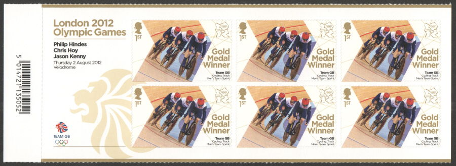 SG3346a Hindes, Hoy & Kenny London 2012 Olympic Gold Medal Winner Miniature Sheet
