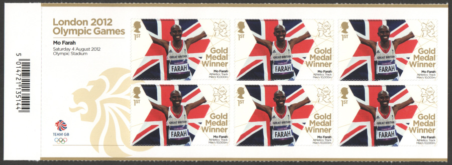 SG3355a Mo Farah London 2012 Olympic Gold Medal Winner Miniature Sheet