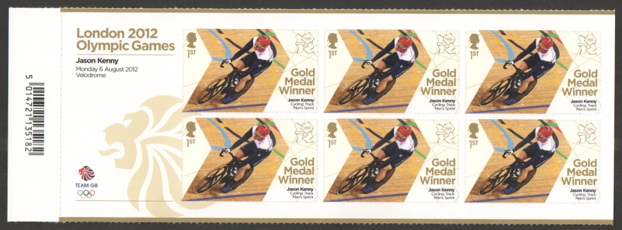 SG3359a Jason Kenny London 2012 Olympic Gold Medal Winner Miniature Sheet