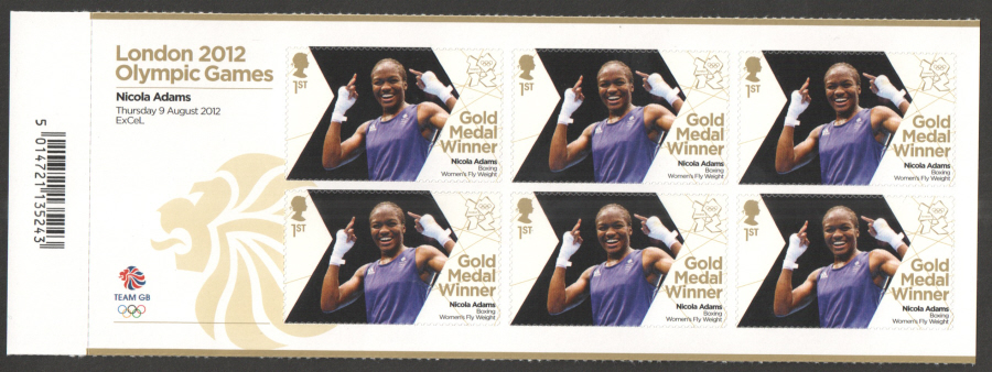 SG3365a Nicola Adams London 2012 Olympic Gold Medal Winner Miniature Sheet