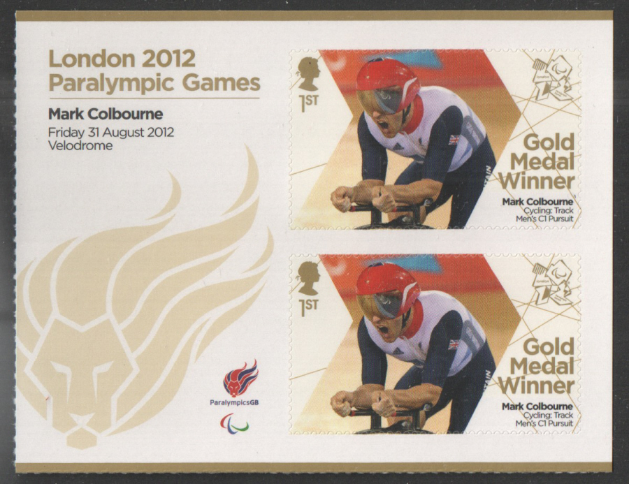 SG3374a Mark Colbourne London 2012 Paralympic Gold Medal Winner Miniature Sheet