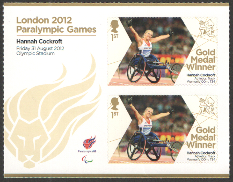 SG3375a Hannah Cockroft London 2012 Paralympic Gold Medal Winner Miniature Sheet