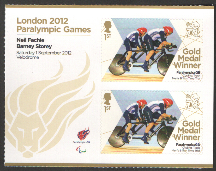 SG3376a Fachie & Storey London 2012 Paralympic Gold Medal Winner Miniature Sheet