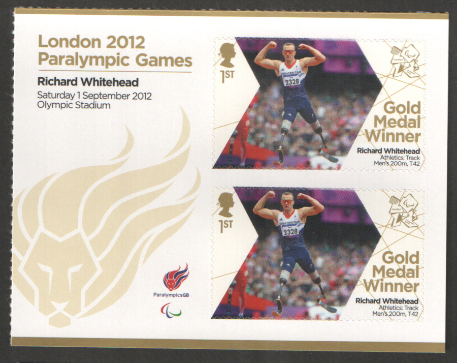 SG3377a Richard Whitehead London 2012 Paralympic Gold Medal Winner Miniature Sheet