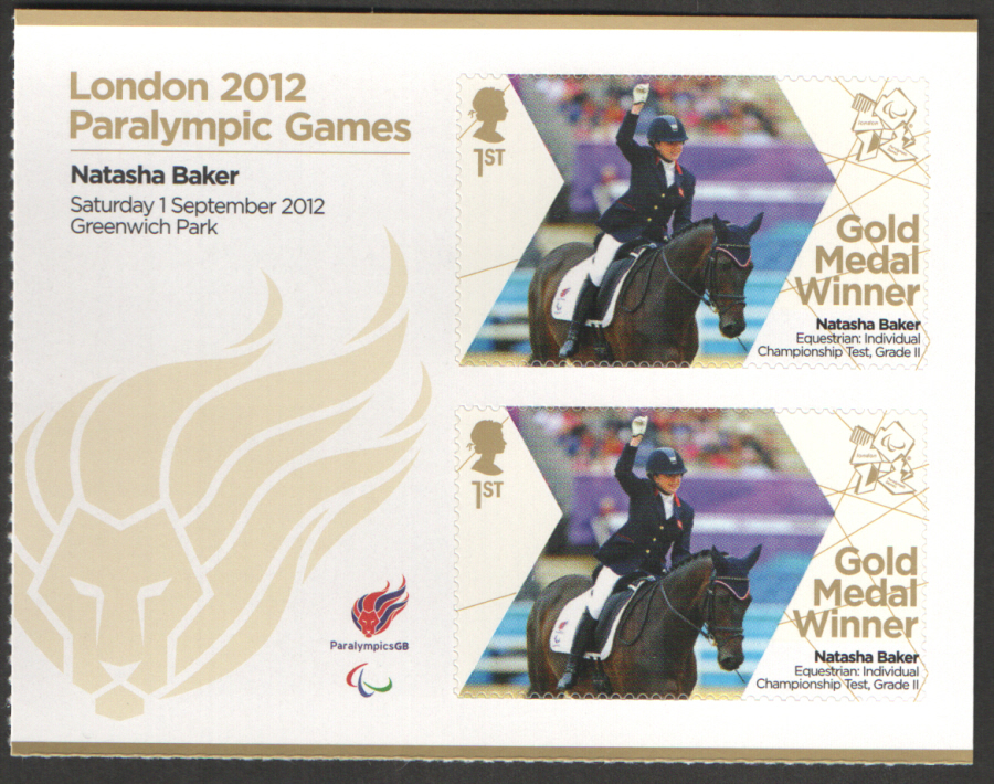 SG3378a Natasha Baker London 2012 Paralympic Gold Medal Winner Miniature Sheet