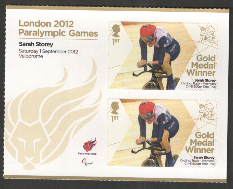 SG3379a Sarah Storey London 2012 Paralympic Gold Medal Winner Miniature Sheet