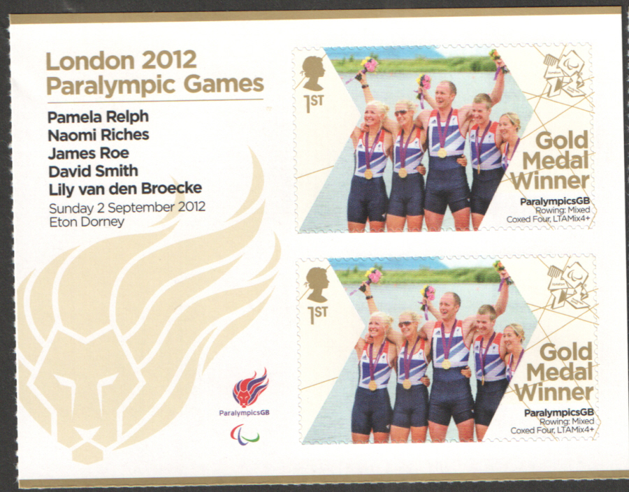 SG3381a Relph, Riches, Roe, Smith & Van Den Broecke London 2012 Paralympic Gold Medal Winner Miniature Sheet