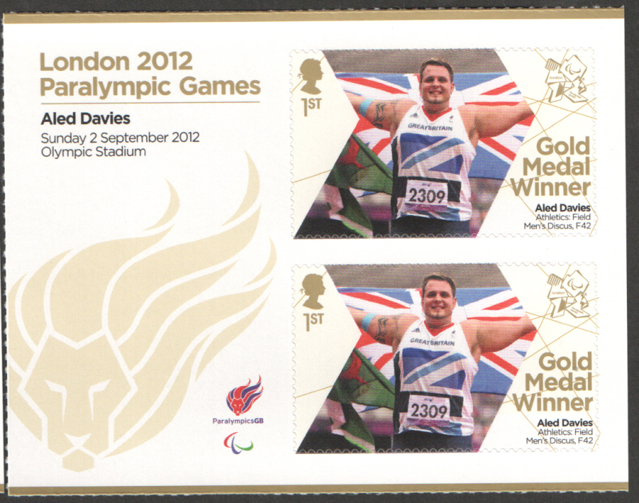 SG3382a Aled Davies London 2012 Paralympic Gold Medal Winner Miniature Sheet