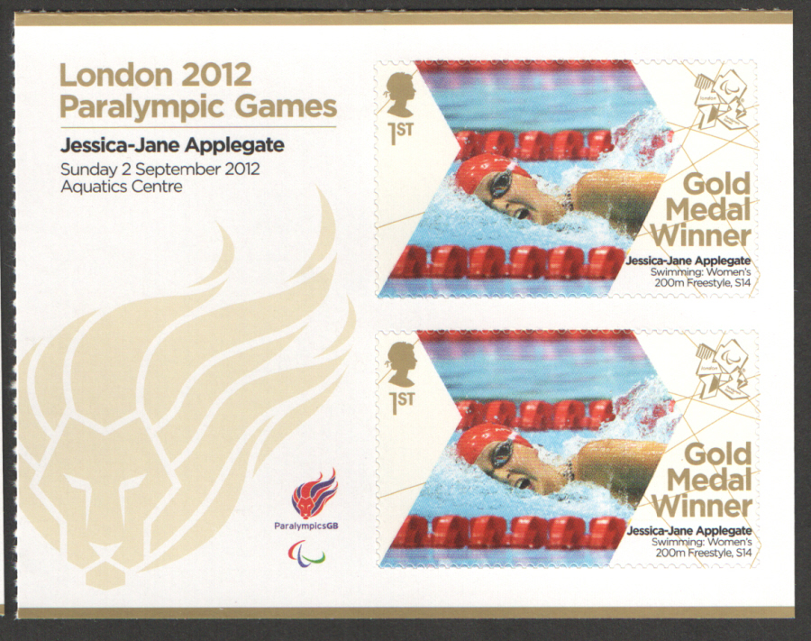 SG3384a Jessica-Jane Applegate London 2012 Paralympic Gold Medal Winner Miniature Sheet
