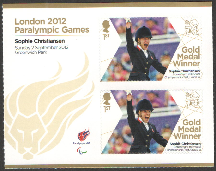 SG3385a Sophie Christiansen London 2012 Paralympic Gold Medal Winner Miniature Sheet