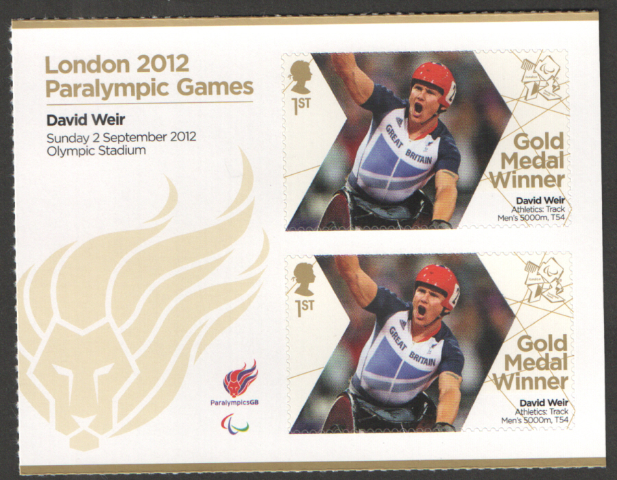 SG3386a David Weir London 2012 Paralympic Gold Medal Winner Miniature Sheet