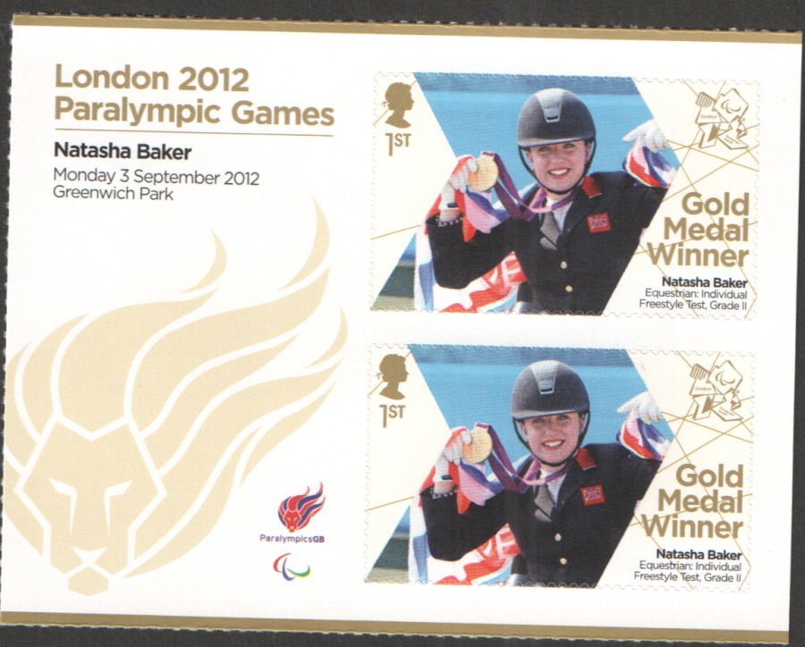 SG3387a Natasha Baker London 2012 Paralympic Gold Medal Winner Miniature Sheet
