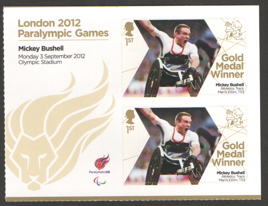 SG3389a Mickey Bushell London 2012 Paralympic Gold Medal Winner Miniature Sheet
