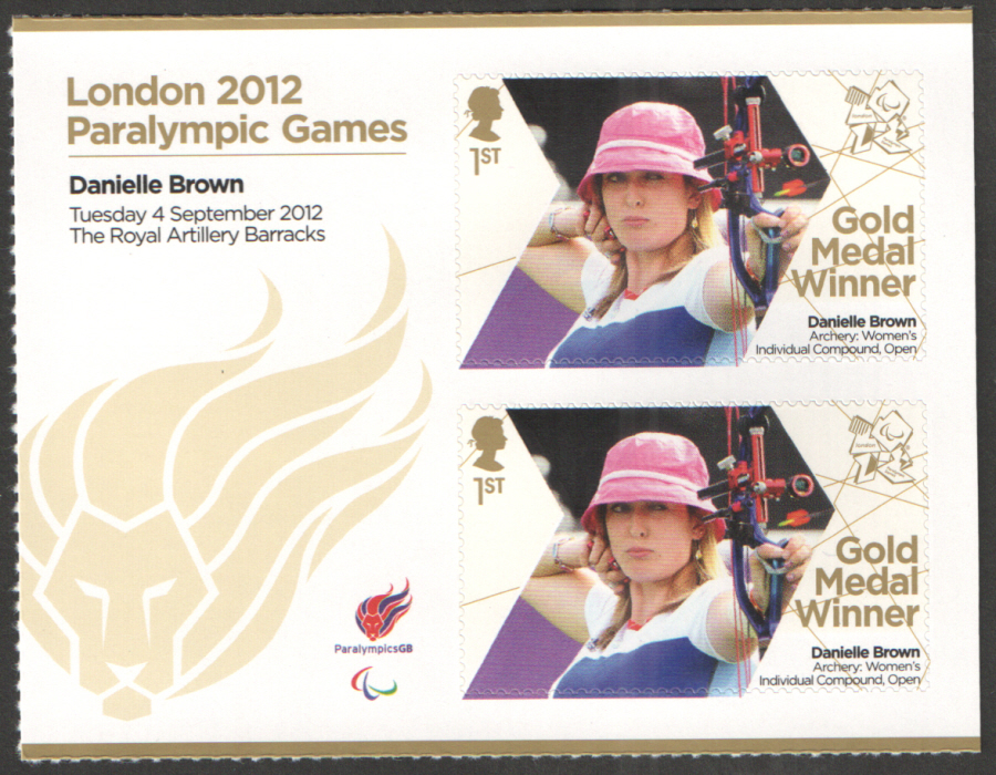SG3390a Danielle Brown London 2012 Paralympic Gold Medal Winner Miniature Sheet