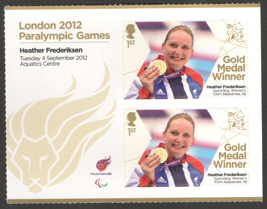 SG3391a Heather Frederiksen London 2012 Paralympic Gold Medal Winner Miniature Sheet