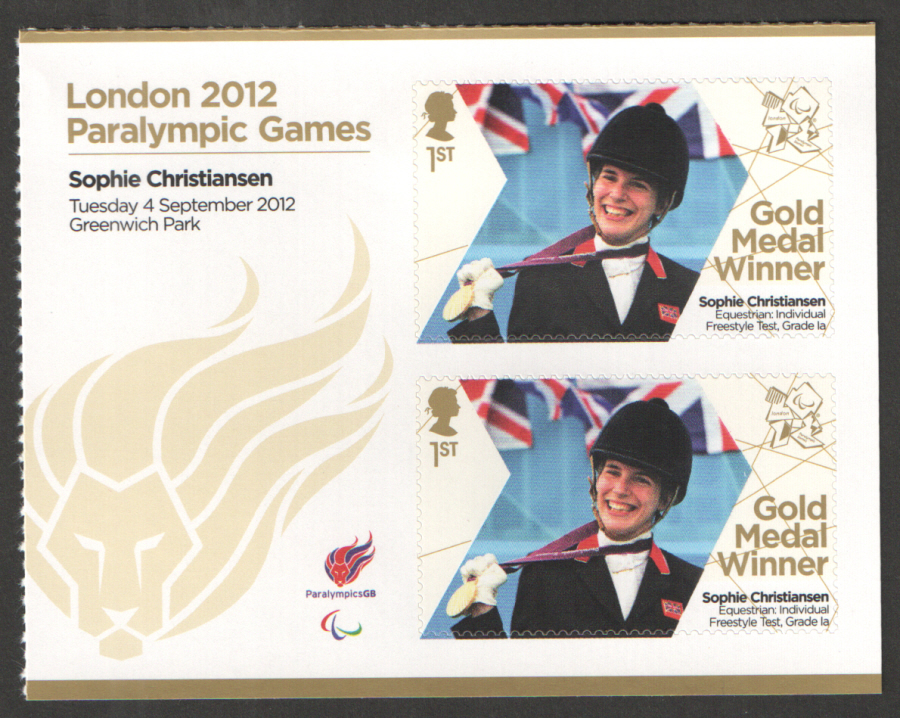 SG3392a Sophie Christiansen London 2012 Paralympic Gold Medal Winner Miniature Sheet