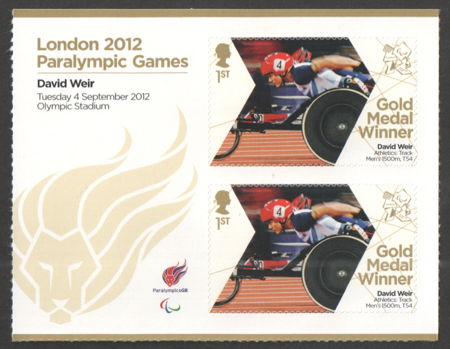 SG3393a David Weir London 2012 Paralympic Gold Medal Winner Miniature Sheet