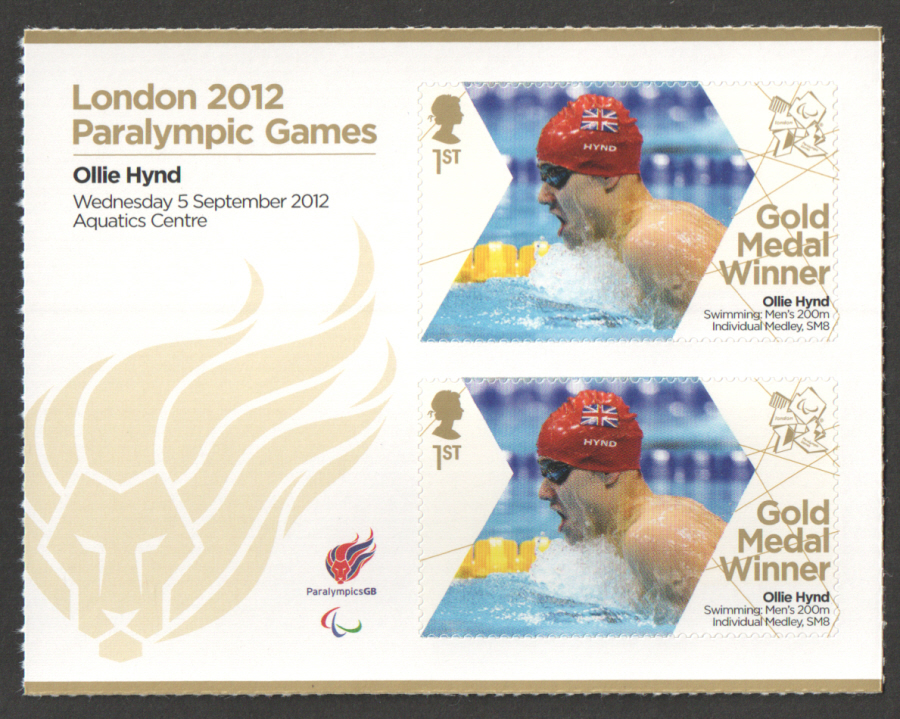 SG3395a Ollie Hynd London 2012 Paralympic Gold Medal Winner Miniature Sheet