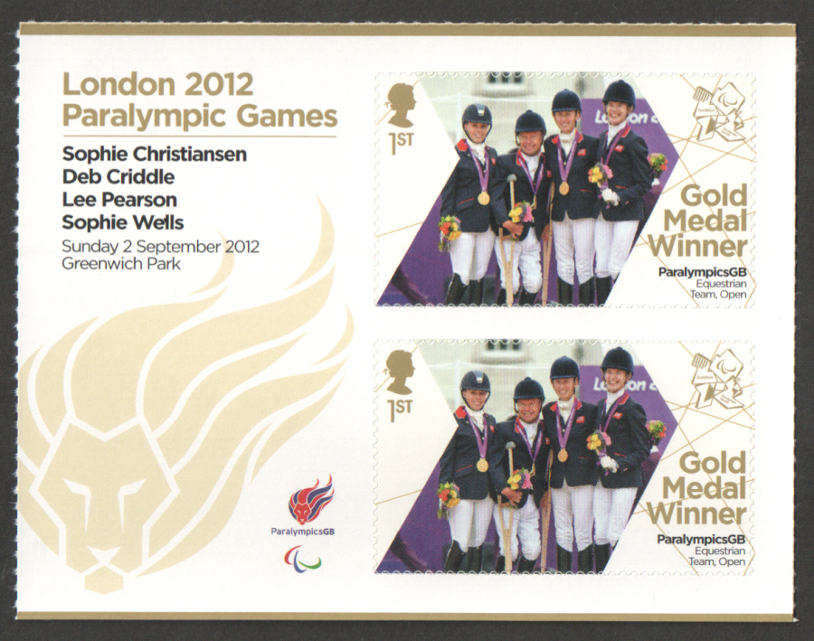SG3396a Christiansen, Criddle, Pearson & Wells London 2012 Paralympic Gold Medal Winner Miniature Sheet