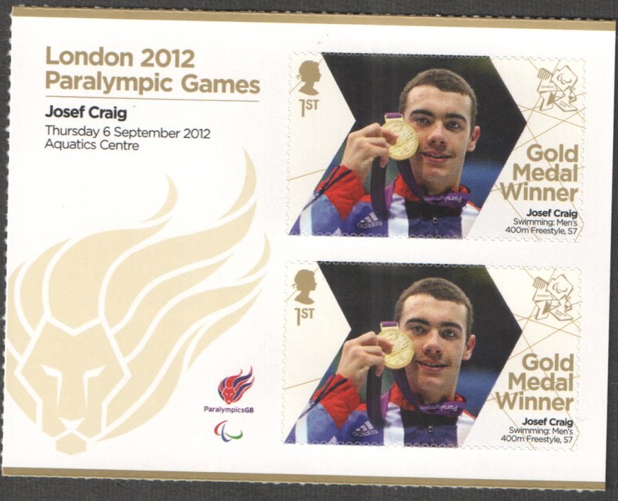 SG3399a Josef Craig London 2012 Paralympic Gold Medal Winner Miniature Sheet