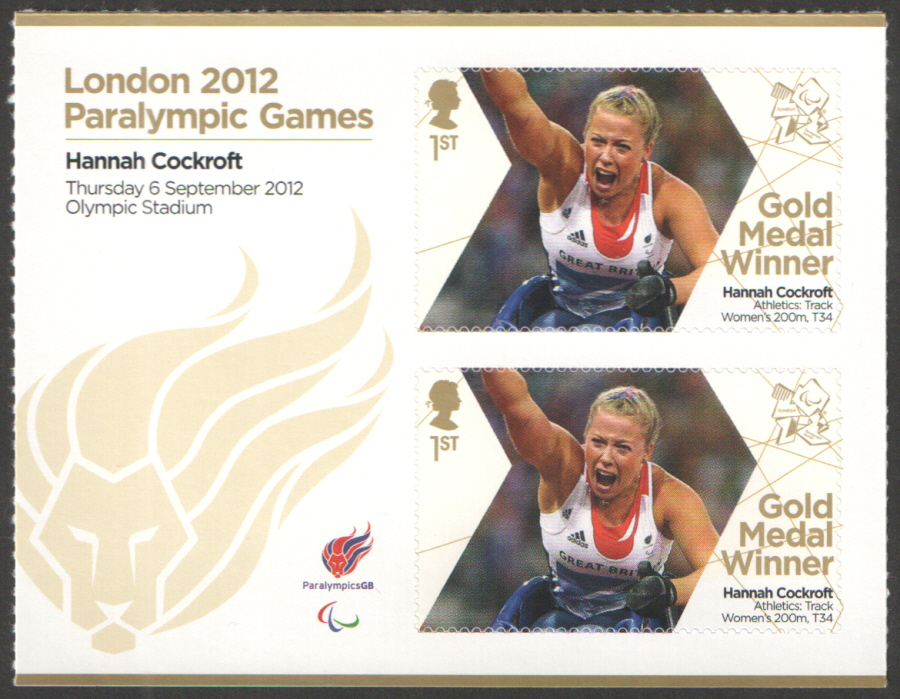 SG3400a Hannah Cockroft London 2012 Paralympic Gold Medal Winner Miniature Sheet