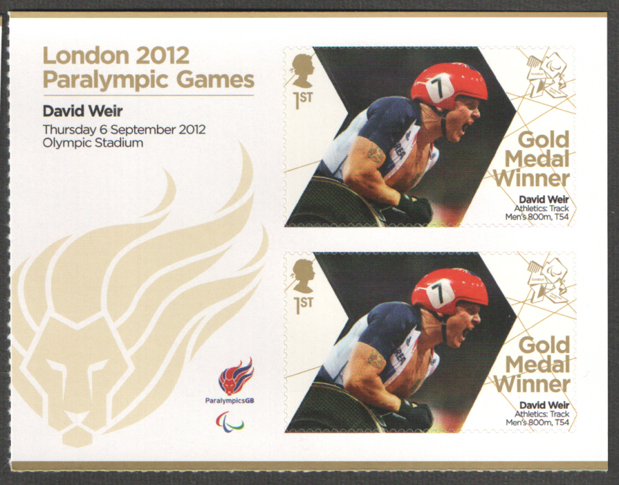 SG3401a David Weir London 2012 Paralympic Gold Medal Winner Miniature Sheet
