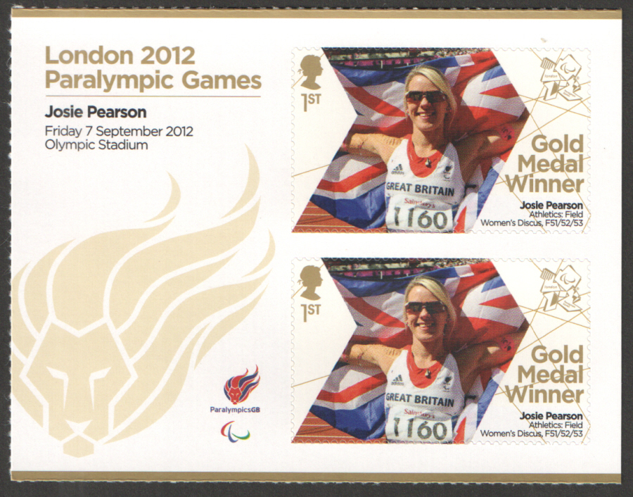 SG3403a Josie Pearson London 2012 Paralympic Gold Medal Winner Miniature Sheet
