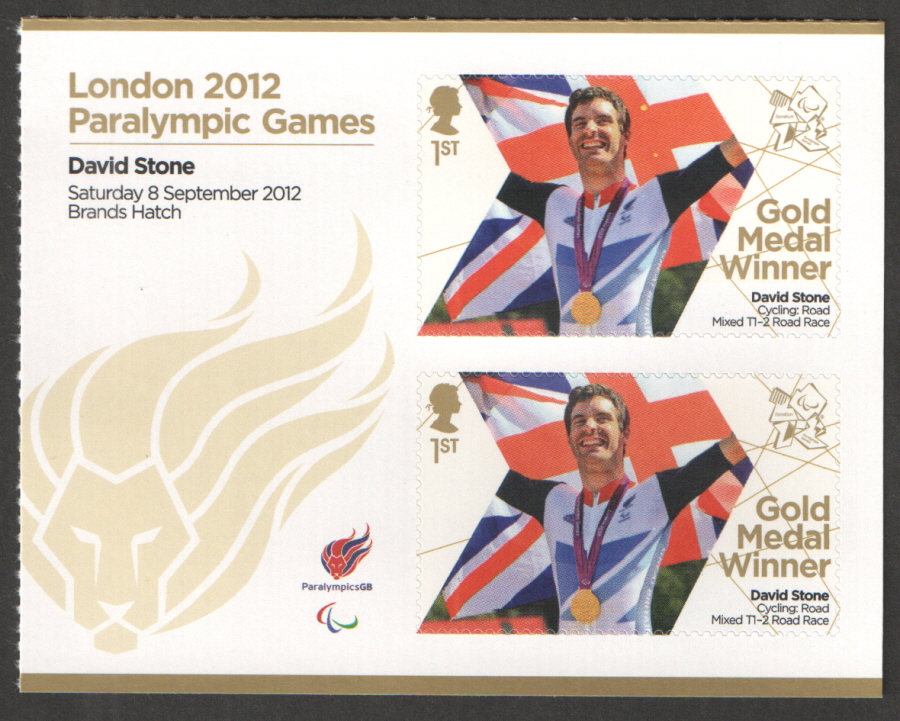 SG3404a David Stone London 2012 Paralympic Gold Medal Winner Miniature Sheet