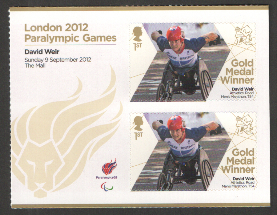 SG3405a David Weir London 2012 Paralympic Gold Medal Winner Miniature Sheet